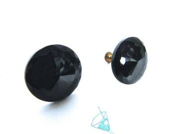 Vintage 40s Earrings Black Jet glass Faceted button Earrings - on sale