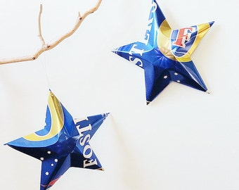 Fosters Ale Blue Star Christmas Ornament Aluminum Can Upcycled