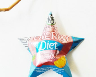 V8 V-Fusion Diet Strawberry Lemonade Flavored Ornament Aluminum Can Upcycled Repurposed