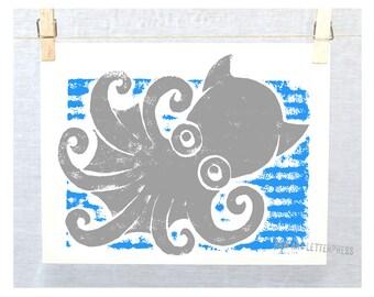 Vampire Squid, Ocean Theme Nursery Decor, Beach Cottage Decor, Octopus, Marine Art