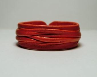 Orange Genuine Leather Cuff Bracelet
