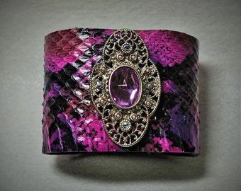 Adjustable ping purple snake skin bracelet cuff with vintage 50tp brooch.