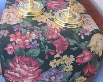 "SALE Green Floral Table Runner 54""-72"" Reversible Green Rose Table Runner Yellow Green Pink Table Runner Large Peony Dark Green Table Runner"