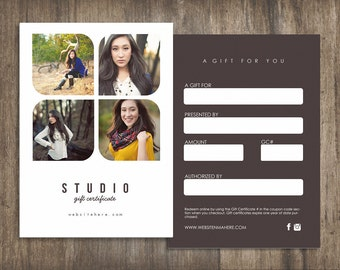 Studio double sided gift certificate design - Instant download