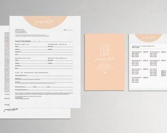 Jessa modern wedding photography contract form and pricing guide - Instant download