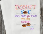 10 Donut Party Favor Bags / Donut You Know That you made my day Sweet / Wedding Donut Buffet / Kids Birthday Bridal Baby Shower Engagement