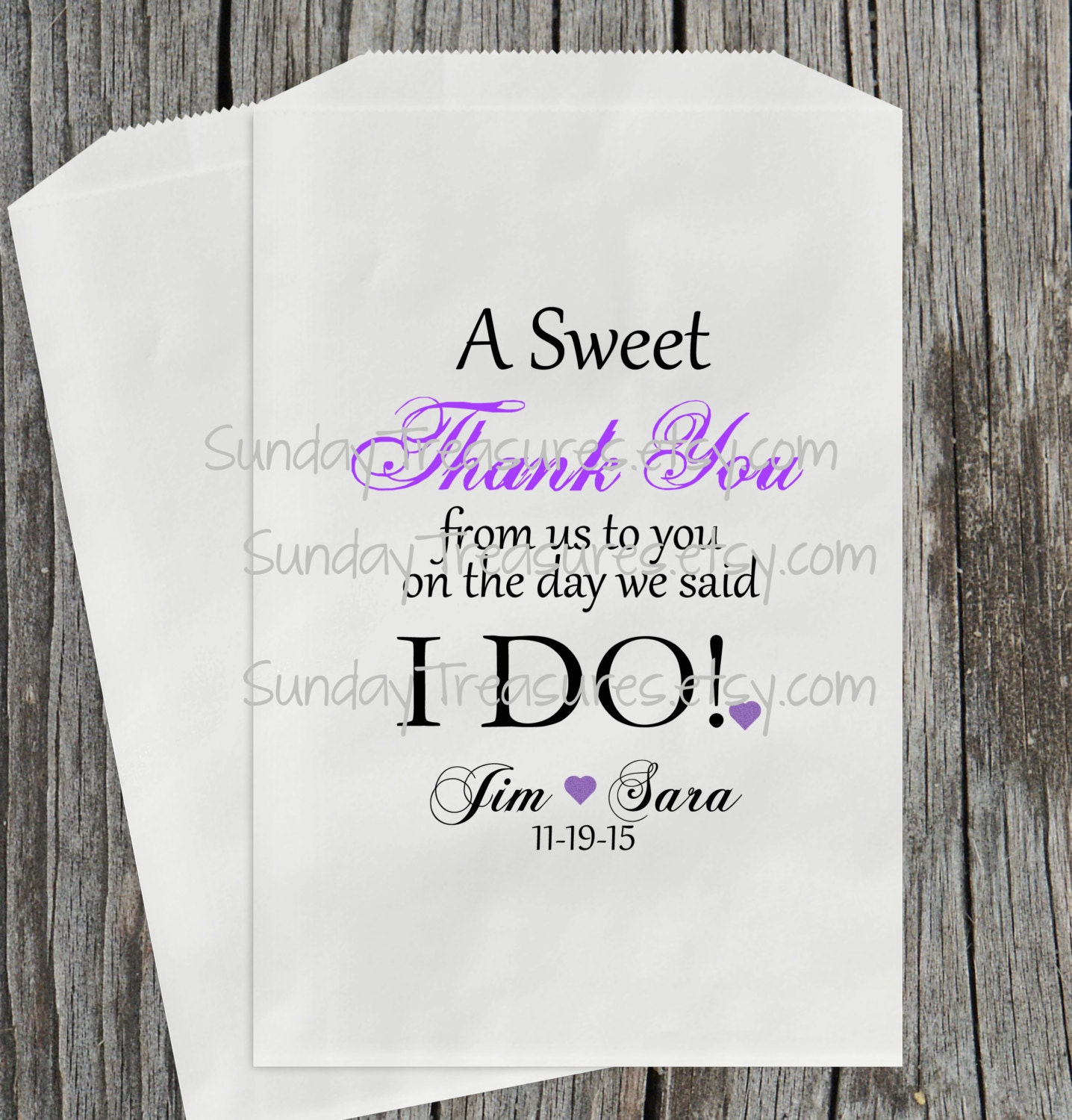Wedding Gift Bag Poems : 12Pc WEDDING Favor Bags / A Sweet Thank You from us to You on