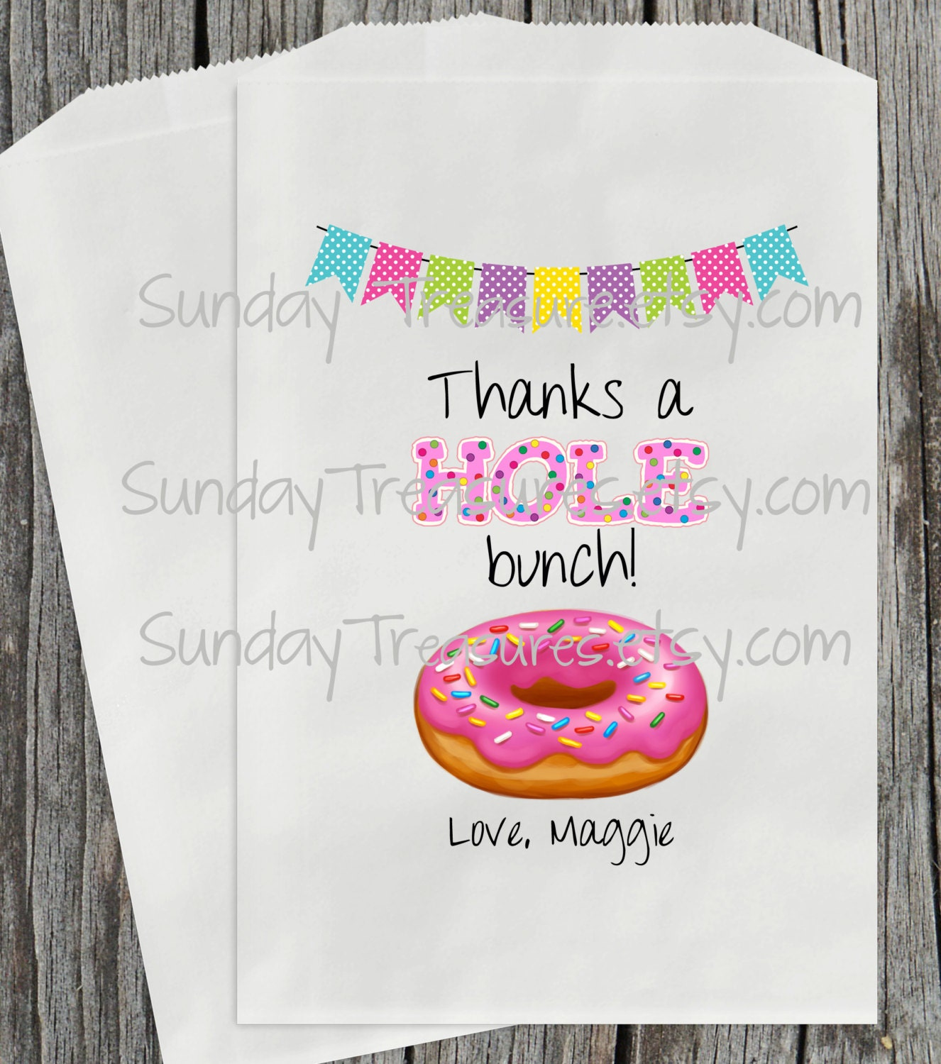 Wedding Favor Donut Bags : 10 Pink Donut with Sprinkles Party Favor Bags / Donut Shop /