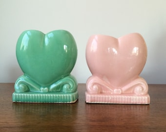 Vintage Planters or Vases, Pink heart, Green Heart Ceramic Midcentury Planters