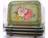 Vintage TV Trays // Floral Shabby Chic Set 7 // French Country Tables //  Original Toleware Metalware