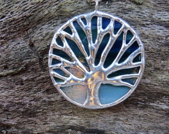 Large blue/green & silver stained glass, Auburn, toomer's oak, tree of life pendant