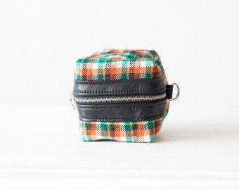 Makeup case, cosmetic bag in plaid wool and black leather - Cube