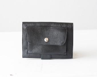 Black leather bifold wallet, phone wallet bifold womens large leather phone wallet minimalist - Iole Wallet