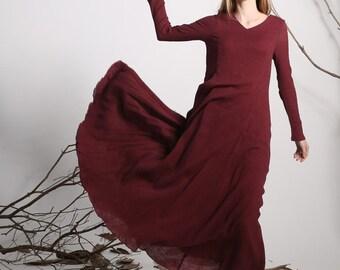 Maxi dress linen dress red long dress women dress (1138)