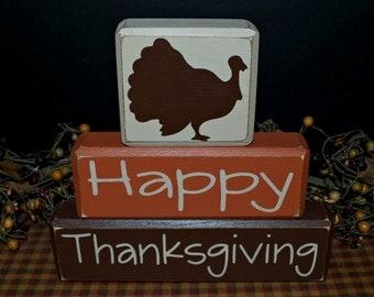 Happy Thanksgiving primitive wood blocks sign