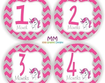 Baby Bodysuit Stickers - Baby Month Stickers - Baby Girl Monthly Stickers - Baby Shower Gift - Chevron Baby Stickers - Unicorn Baby Stickers