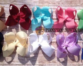 Set of 10 Hair Bows, Classic Large Solids, UPIC Colors, Match Uniforms, Birthday Gifts, Baby Headband, Infant Headband, Newborn Headbands
