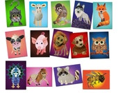 Postcards Assorted Set of 14 postcards animals  Free Shipping Postcrossing lion bee sheep racoon wolf fox monkey cow