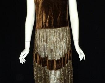 Vintage 1920s Metallic Lace Dress Floral Pattern Chestnut Silk velvet Scoop Neck Wearable Gatsby Jazz Age Art Deco