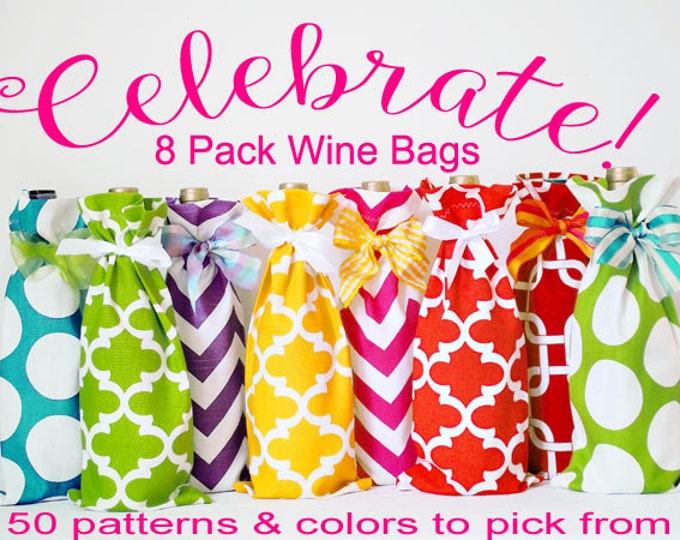 8 Wine Sacks, Spring Wine Bag Collection, Bright Fun Wine Sacks, Graduation, Hostess Gifts, Baby Shower Hostess Gifts, Wholesale Wine Bags