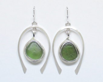 Sea Glass Jewelry - Sterling Sage Green Sea Glass Earrings