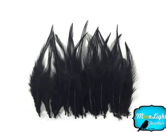 Hair Feathers, 12 Pieces - SHORT SOLID BLACK American Rooster Hair Extension Feathers : 660
