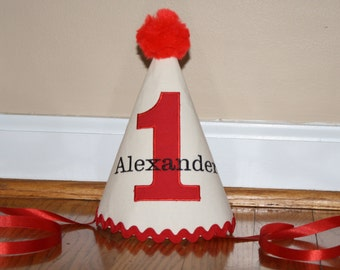 boys first birthday hat, boys 1st birthday hat, tan, red, black, cake smash outfit, boys hat, personalized birthday hat, photo prop