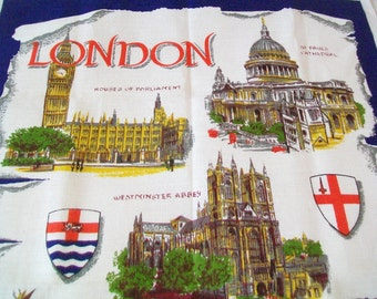 SALE - Linen London Towel, Souvenir, tea towel, kitchen