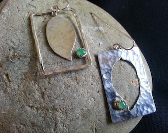 Positive/Negative Framed Leaf Earrings