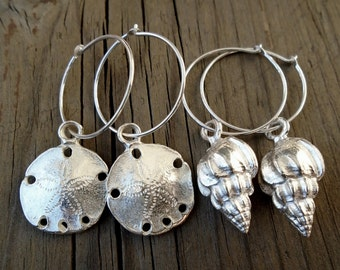 Silver Shell Earrings / Summer Beach Hoops / Sand Dollar or Conch Shell Nautical Jewelry
