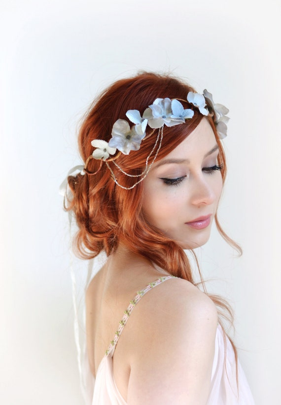 flower crown wedding hair silver crown wedding headpiece grey floral crown hair 4156