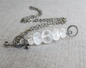 Milky White Necklace, Rock Crystal Necklace, Convertible Pendant Necklace, Dark Silver Necklace