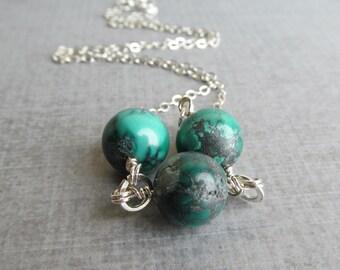 Turquoise Necklace, Turquoise Stone Necklace, Blue Green Necklace, Necklace Turquoise, Argentium Silver Necklace, Necklace Silver Turquoise