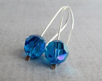 Blue Earrings, Blue Crystal Earrings, Modern Wire Earrings, Crystal Modern Earrings, Sterling Silver Earrings, by wearever