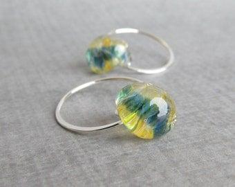 Blue Yellow Hoop Earrings, Small Lampwork Earrings, Golden Blue Earrings, Small Sterling Silver Handmade Earrings