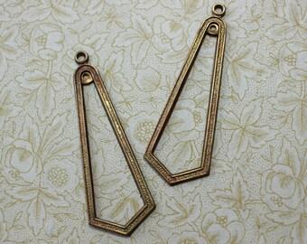 Oxidized Brass Deco Earring Dangle Charm Findings
