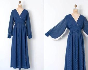 vintage 1970s dress / 70s polka dot maxi dress / Summer Comes Slowly
