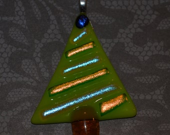 Fused Glass Christmas Tree Necklace with Dichroic Glass, Necklace, Jewelry, Pendant,Christmas Jewelry