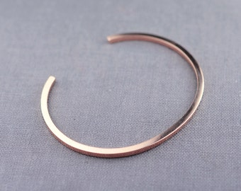 Solid 14K Rose Gold Cuff Bracelet Made From Recycled Eco Friendly Sustainable Gold