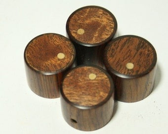 Set of 4 Cocobolo Guitar Knobs with Sapele Inlay and Ash Dot Indicator (7/8d x 11/16h)