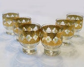 6 Vintage  Culver Green and 22k Gold Valencia footed Lowball Cocktail Glasses  Hollywood Regency Mad Men Style