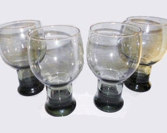 4 Vintage  Hollywood Regency Drinking Glasses  Gray Roly Poly Goblets
