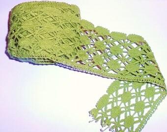 Vintage Cotton Lace Trim Avecado Dark Lime Green  3 YARDS
