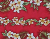 Marianne of Maui Hawaiian Quilting Fabric Red with Plumeria Leis  Vertical Print. New Arrival Bolt