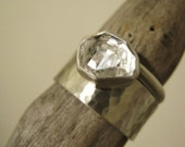 Raw Herkimer Diamond Ring with a Wide Hammered Band - Sterling and Pure Silver - Custom size