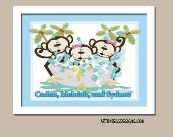Monkey Bathroom Art, Kids Monkey Bathroom Art Prints or Canvas, Monkeys in a Tub, Girl, Boy, Girls and Boys - Design 3B