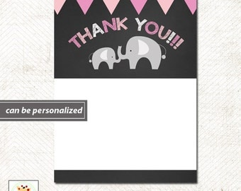 Pink Elephant Chalkboard Flat Thank you notes, Print your Own JPG file or Printed Invitations