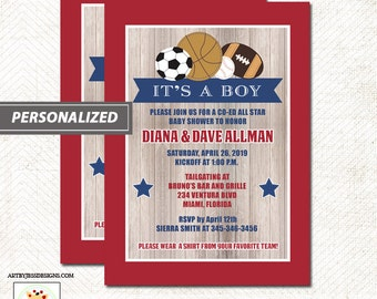All Stars Sports Rustic Red/Navy Boys Baby Shower Invitation, Co-ed Sports Invitation, Digital File or Printed Invitations