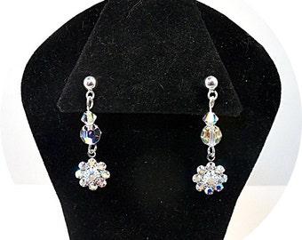 Crystal Earrings, Sparkly Earrings, Kids Jewelry, Pageant Jewelry, Flower Girl Earrings, Glitz Jewelry, Competition Earrings, Dangle, Dressy
