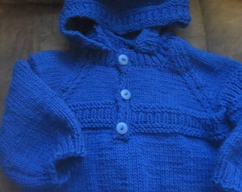 "Hand Knit Baby-Infant ""Custom Made"" Hooded Sweater. U Choose Color and Size"